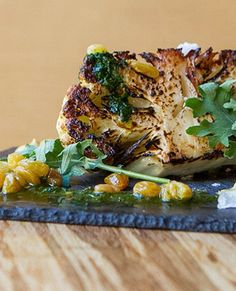 New York restaurant Rusty Mackerel's pan-seared Cauliflower Chop has won over meat-eaters and vegetarians with its thick cut, curried cauliflower purée and raisin chimichurri.