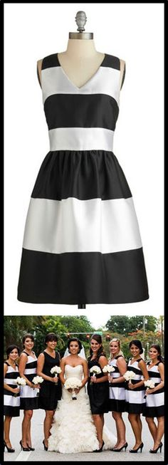 Black & white striped bridesmaid dresses - that she'll surely wear again.
