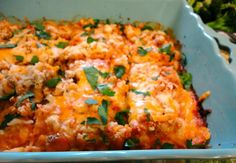 Lightened up Chicken Parmesan Casserole. Easy, healthy and comforting!