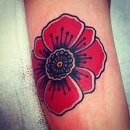 American traditional poppy tattoo.
