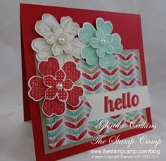 Stampin Up Petite Petals & Fresh prints card by Glenda Calkins. Love!