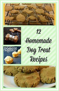 12 Homemade Dog Treat Recipes #dogrecipes #Homemadefood #petfood - http://www.budgetearth.com/12-homemade-dog-treat-recipes/