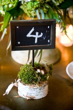 Cute idea for mounting your chalkboard love sayings at each table... you could leave the moss off (but that grows here too! Ha.)  I'd mount with a twig...