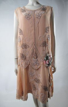 1920s peach silk chiffon flapper dress and under dress with a beautiful beaded design.