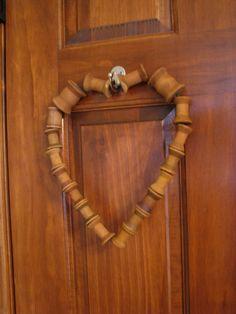 Vintage Wooden Spools Heart Wreath by LilandLou on Etsy, $28.00