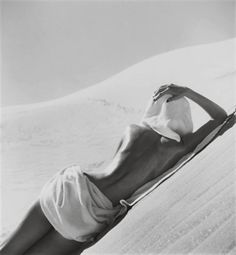 "by Louise Dahl-Wolfe, ""Nude in Mojave Desert, California"", 1948 - (born November 19, 1895 – died December 11, 1989) was an American photographer. She is known primarily for her work for Harper's Bazaar, in association with fashion editor Diana Vreeland."