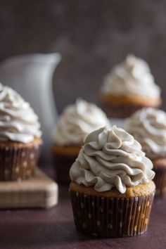 Sweet Potato Cupcakes with Marshmallow Frosting by overtimecook #Cupcakes #Sweet_Potato
