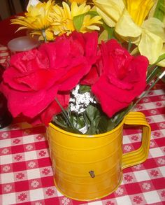 Vintage Bright Yellow Bromwell's 3 Cup by KlassiqueKreations, $14.95