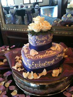 #1 idea for a cake for us. Love the idea of a a Word cake with the wedding colors in it somehow!... and then maybe a grooms cake too for the subway series.. and perhaps cupcakes for those who don't like the wedding cake. just some ideas. ~G  Lavender Heart, Words of Love Wedding Cake
