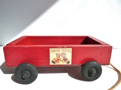 Vintage Doll Accessory Little Red Wooden Wagon