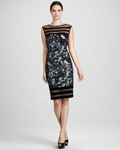 Illusion-Trim Cocktail Dress - Neiman Marcus