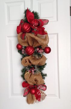 Burlap swag, plaid ribbon, frosted berries, winter, Christmas
