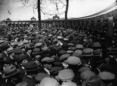 April 1923: Crowds at the turnstiles before the FA Cup Final between West Ham United and Bolton Wanderers at Wembley Stadium, aka the White Horse Final. It was the first final to be held at the newly completed venue, with an estimated attendance of at least 200,000.