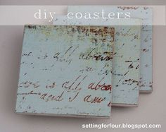 DIY Script Coasters Tutorial - Great gift idea! Upcycle old tiles to make these custom DIY Script Coasters using Mod Podge! http://www.settingforfour.com/2012/0…