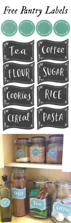 89 Free Printable Kitchen Pantry labels + blank pages of each of the 4 styles so you can add your own and they all come in black or teal.