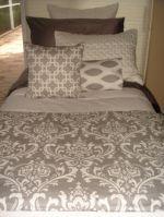 gray and white damask dorm bedding