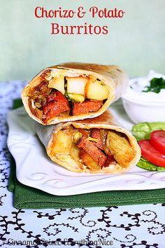 Chorizo & Potato Burritos avocado burrito, meatloaf burrito, food, chorizo potato, potatoes, potato burrito, burrito recip, chorizo burrito, breakfast burritos