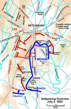 Gettysburg Battle Map 1863