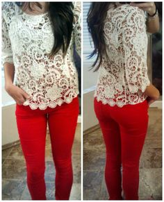 Crochet top & colored jeans. Perfection!