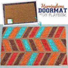 Herringbone pattern doormat by DIY Playbook