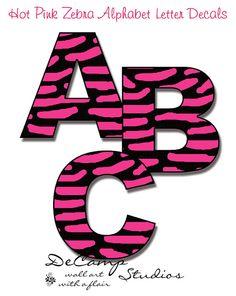 wall art, pink zebra, girl room, alphabet wall, wall decals, alphabet letters, kid rooms, teen girls, letter wall