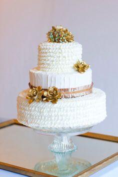 gold ruffle cake