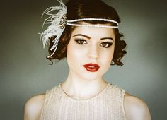 Flapper Headpiece, Vintage Inspired, Bridal Hairpiece, The Great Gatsby, 1920's, 1930's, Party, Roaring 20's, Ivory, Blush, Feather