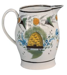 ≗ The Bee's Reverie ≗ Prattware Jug, English 19th century with bee hive