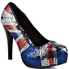 Union Jack ... British Heels I Love ... Iron Fist    Jacked Up Platform - Blue