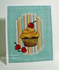 Sanded edges on #diecuts...  Geri Utterback created this yummy cupcake card for us and shares her technique on our blog. Rubber stamps by Repeat Impressions. - www.repeatimpressions.com - #repeatimpressions #rubberstamps #rubberstamping #cardmaking
