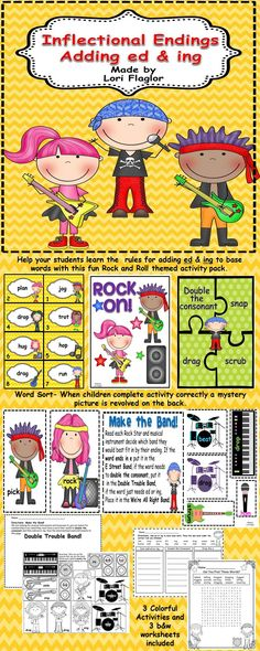 A fun way to learn the rules for adding ed and ing to base words.