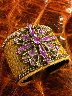 Vintage Brooch Burlap Cuff Bracelet Antique by VintageWicksNMore, $44.00