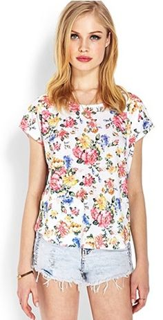 Super cute floral top for summer heat! #cute #floral #flowers #shirt #fashion #ootd #clothes #girl #swag #summer #summerstyle #pretty #girl