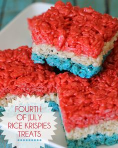 Red, White and Blue Fourth of July Rice Krispies Treats. So festive! #4thOfJuly
