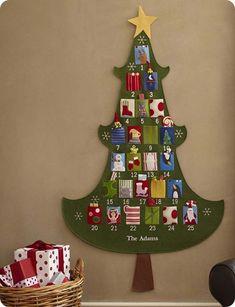 . holiday, kids christmas, felt christmas, templat, felt tree, barns, christmas trees, pottery barn, christmas advent calendars