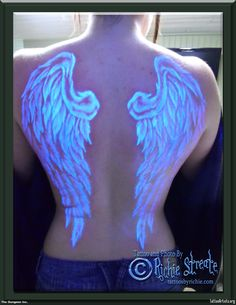Elizabeth, UV Black Light Wings Tattoo  (Wondering if this could be done with glow-in-the-dark or UV paint....?)