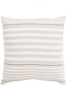 #DashAndAlbert Rugby Stripe Platinum Woven Cotton Pillow
