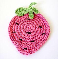 Crochet Strawberry Coasters