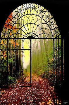 Gates of Autumn, Czech Republic secret gardens, autumn, wrought iron gates, garden gates, path, czech republic, door, place, walk