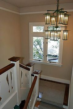 Custom Light fixture on main stair landing