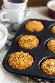Gluten Free Almond Coconut Muffins - Easy, healthy and perfect for #backtoschool snacks! | Foodfaithfitness.com | #muffin #recipe #oatmeal @FoodFaithFit