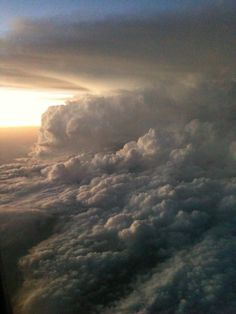 Thunderstorm over Texas from plane window