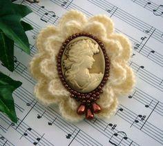 Victorian Young Lady Cameo Brooch Pin Hand ❤ by CraftsbySigita,   www.etsy.com/shop/CraftsbySigita