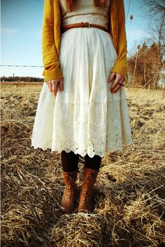 Vintage dress with mustard colored cardigan.