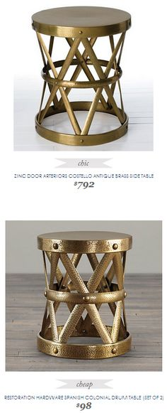Copy Cat Chic Find | ZINC DOOR ARTERIORS COSTELLO ANTIQUE BRASS SIDE TABLE vs RESTORATION HARDWARE SPANISH COLONIAL DRUM TABLE (SET OF 2)