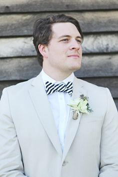 Black and white striped bow ties