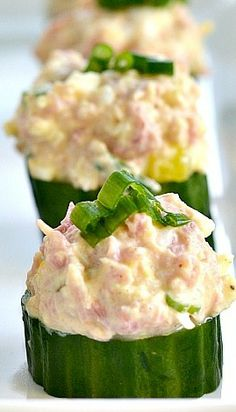 Ham and Egg Salad Cucumber Cups Recipe ~ They're so easy to make and a crowd favorite!