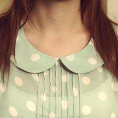 polka dot peter pan collar minti color