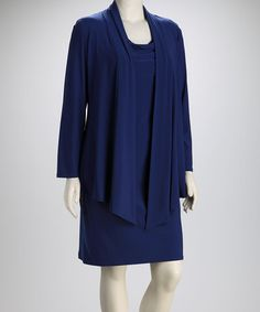 Take a look at this Jessica Howard Blue Plus-Size Dress & Open Cardigan by Jessica Howard on #zulily today!