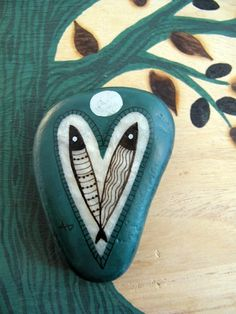 painted stone / blue valentine / aegean 5 by zeustones on Etsy, $20.00